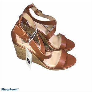 A new day tan strappy wedge sandals size 11
